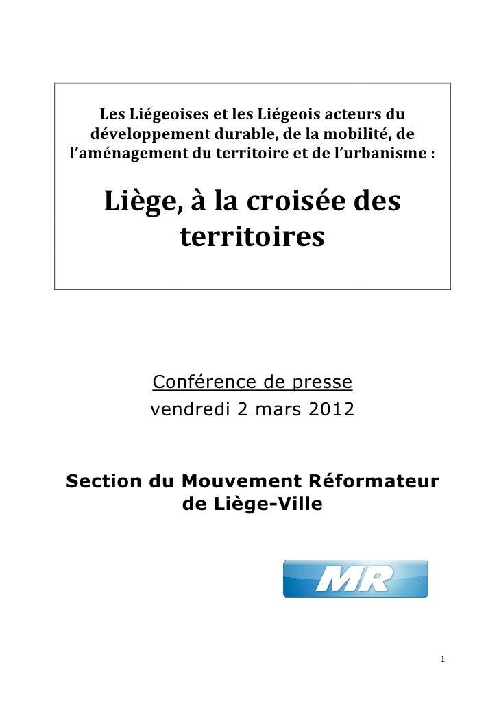 Les Liégeoises et les Liégeois acteurs du         iégeoises   développement durable, de la mobilité, d del'aménagement du ...