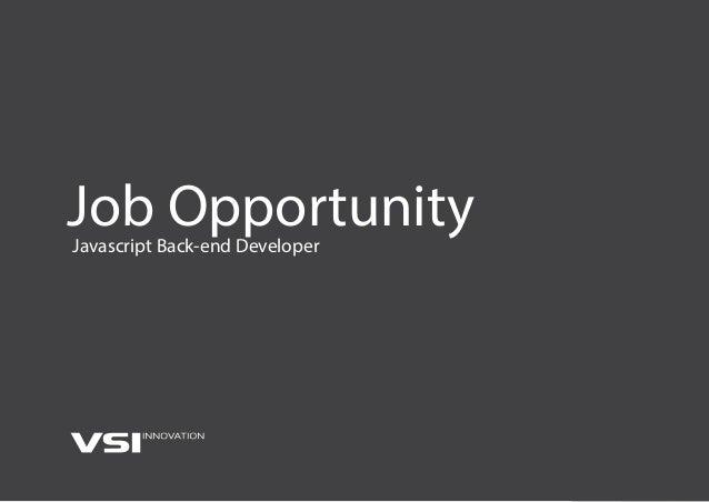Job OpportunityJavascript Back-end Developer