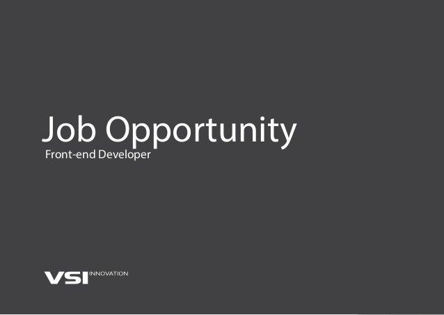 Job OpportunityFront-end Developer