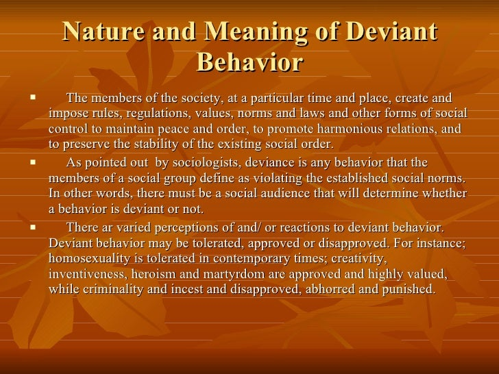 deviant behavior essays
