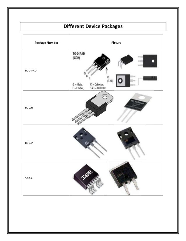 Different Device Packages Package Number  TO-247AD  TO-220  TO-247  D2-Pak  Picture