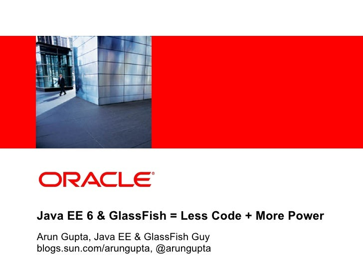 <Insert Picture Here>Java EE 6 & GlassFish = Less Code + More PowerArun Gupta, Java EE & GlassFish Guyblogs.sun.com/arungu...