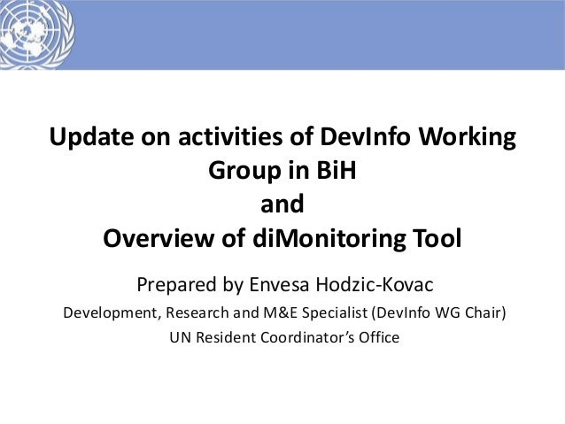 Update on activities of DevInfo Working            Group in BiH                  and   Overview of diMonitoring Tool      ...
