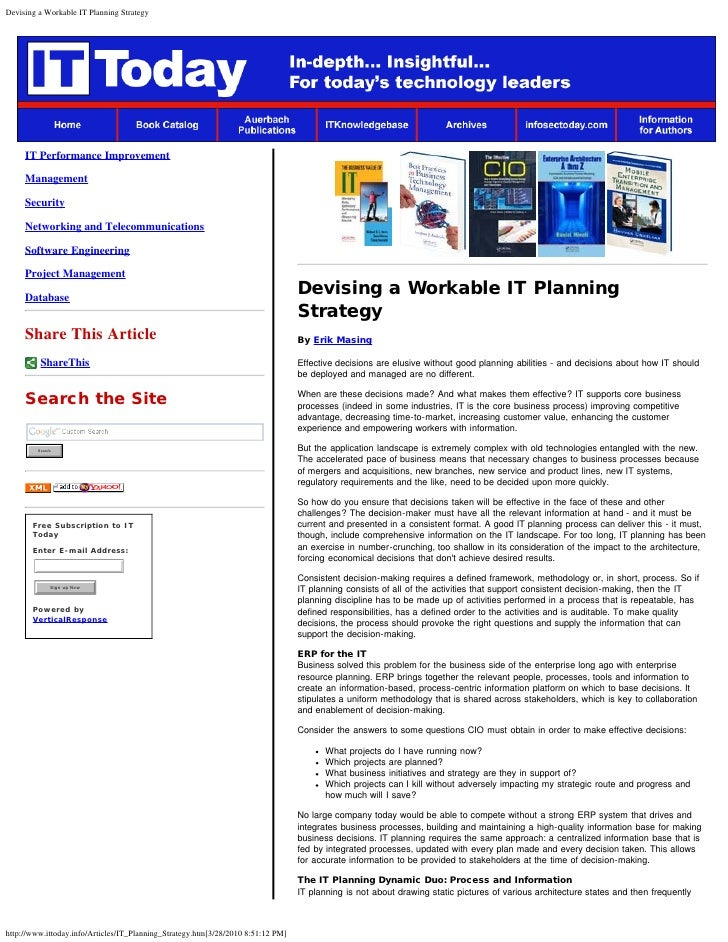 Devising a Workable IT Planning Strategy          IT Performance Improvement       Management       Security       Network...