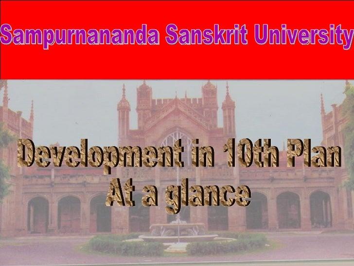 Development in 10th Plan At a glance  Sampurnananda Sanskrit University
