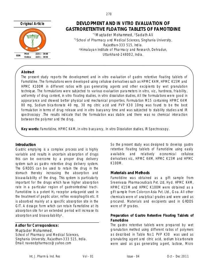 270   Original Article                         DEVLOPMENT AND IN VITRO EVALUATION OF                                      ...