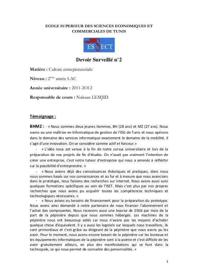 ECOLE SUPERIEUR DES SCIENCES ECONOMIQUES ET COMMERCIALES DE TUNIS  Devoir Surveillé n°2 Matière : Culture entrepreneuriale...