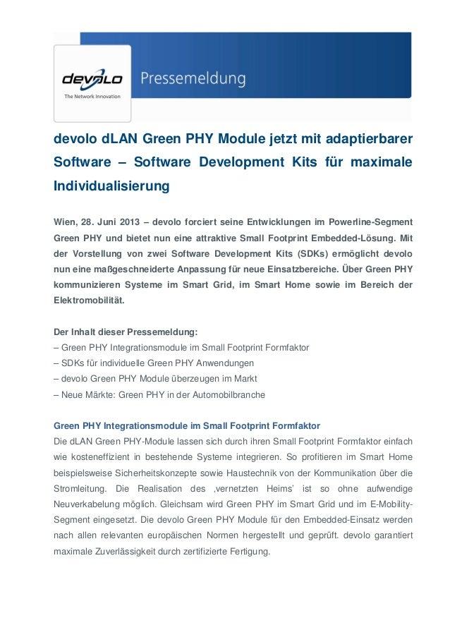 devolo dLAN Green PHY Module jetzt mit adaptierbarer Software – Software Development Kits für maximale Individualisierung ...