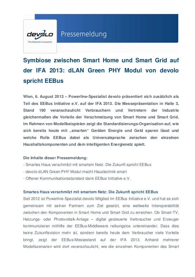 Symbiose zwischen Smart Home und Smart Grid auf der IFA 2013: dLAN Green PHY Modul von devolo spricht EEBus Wien, 6. Augus...