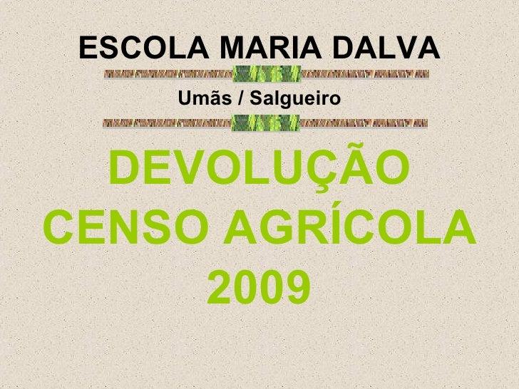 ESCOLA MARIA DALVA <ul><li>Umãs / Salgueiro </li></ul><ul><li>DEVOLUÇÃO </li></ul><ul><li>CENSO AGRÍCOLA </li></ul><ul><li...