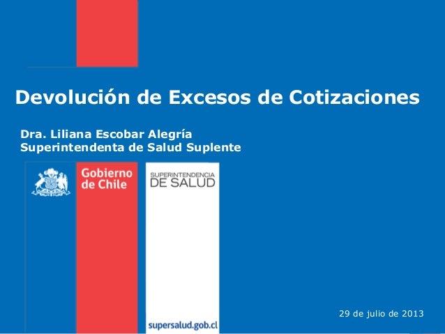 Devolución de Excesos de Cotizaciones Dra. Liliana Escobar Alegría Superintendenta de Salud Suplente 29 de julio de 2013