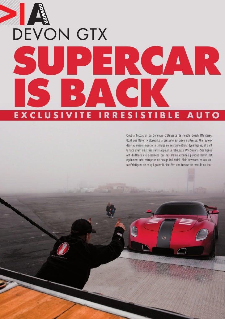 IA GTX    DOS DEVON  S      I ER     SUPERCAR IS BACK EXCLUSIVITE IRRESISTIBLE AUTO                 C'est à l'occasion du ...