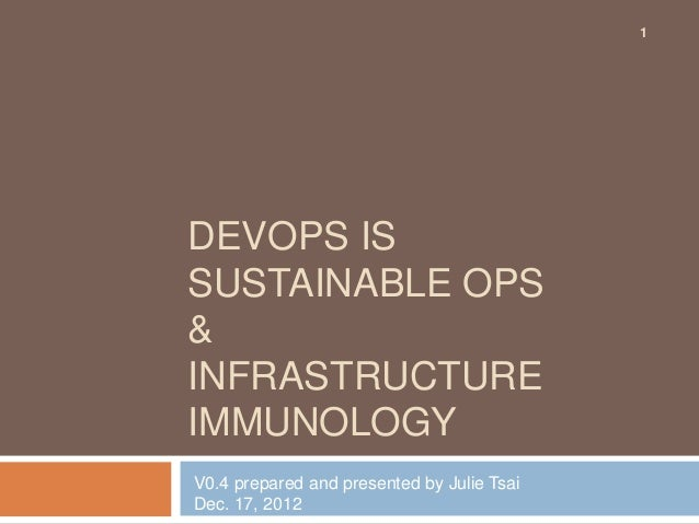 1DEVOPS ISSUSTAINABLE OPS&INFRASTRUCTUREIMMUNOLOGYV0.4 prepared and presented by Julie TsaiDec. 17, 2012