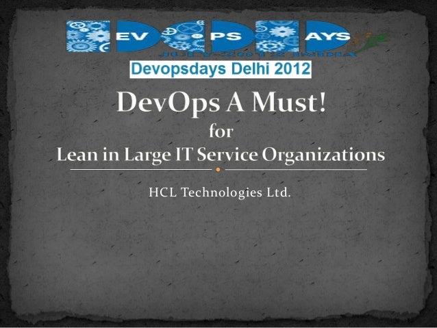 DevOps Days 2012 -  Going LEAN in IT Services Organization