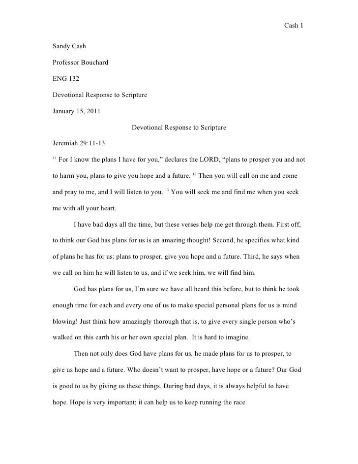 Cash 1Sandy CashProfessor BouchardENG 132Devotional Response to ScriptureJanuary 15, 2011                               De...