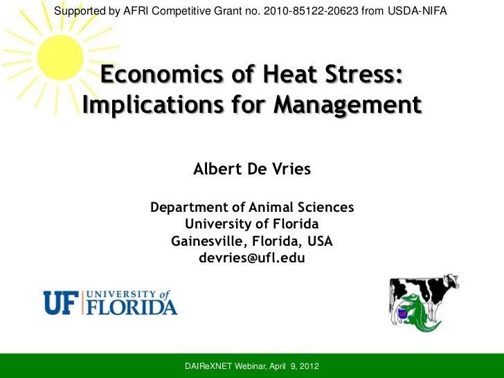 The Economics of Heat Stress- Albert DeVries