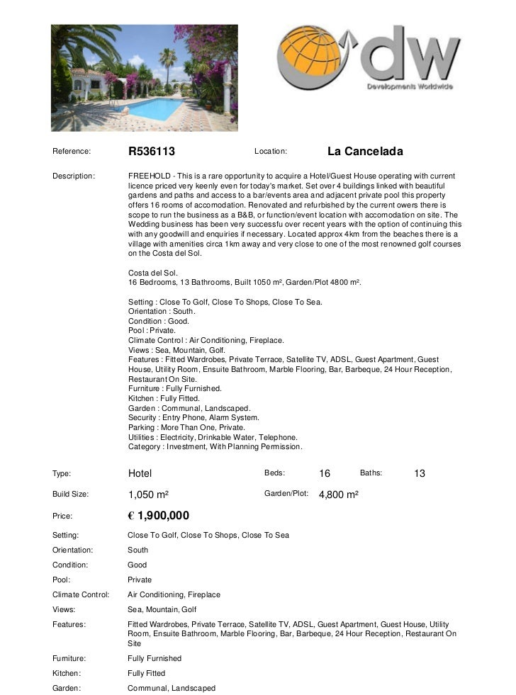 Bed and Breakfast For Sale Costa del Sol