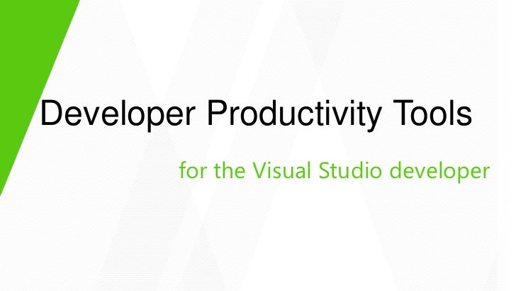 Developer Productivity Tools        for the Visual Studio developer