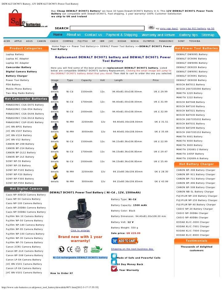 DEWALT DC9071 Battery, 12V DEWALT DC9071 Power Tool Battery                                            Buy Cheap DEWALT DC...