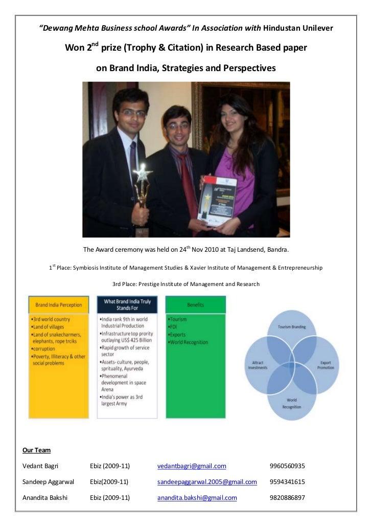 """Dewang Mehta Business school Awards"" In Association with Hindustan Unilever                Won 2nd prize (Trophy & Citati..."