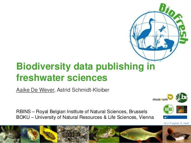 Aaike De Wever, Astrid Schmidt-Kloiber Biodiversity data publishing in freshwater sciences © J. Freyhof, A. Hartl RBINS – ...