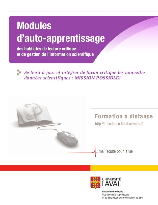 Modules d'auto-apprentissage des habiletés de lecture critique et de gestion de l'information scientifique http://infocrit...