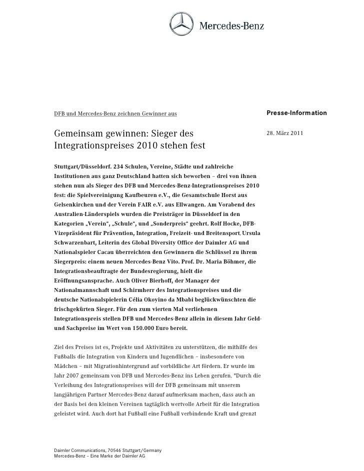 DFB und Mercedes-Benz zeichnen Gewinner aus                                           Presse-InformationGemeinsam gewinnen...