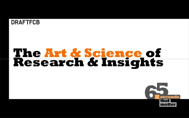 The Art & Science of Research & Insights The Art & Science of Research & Insights