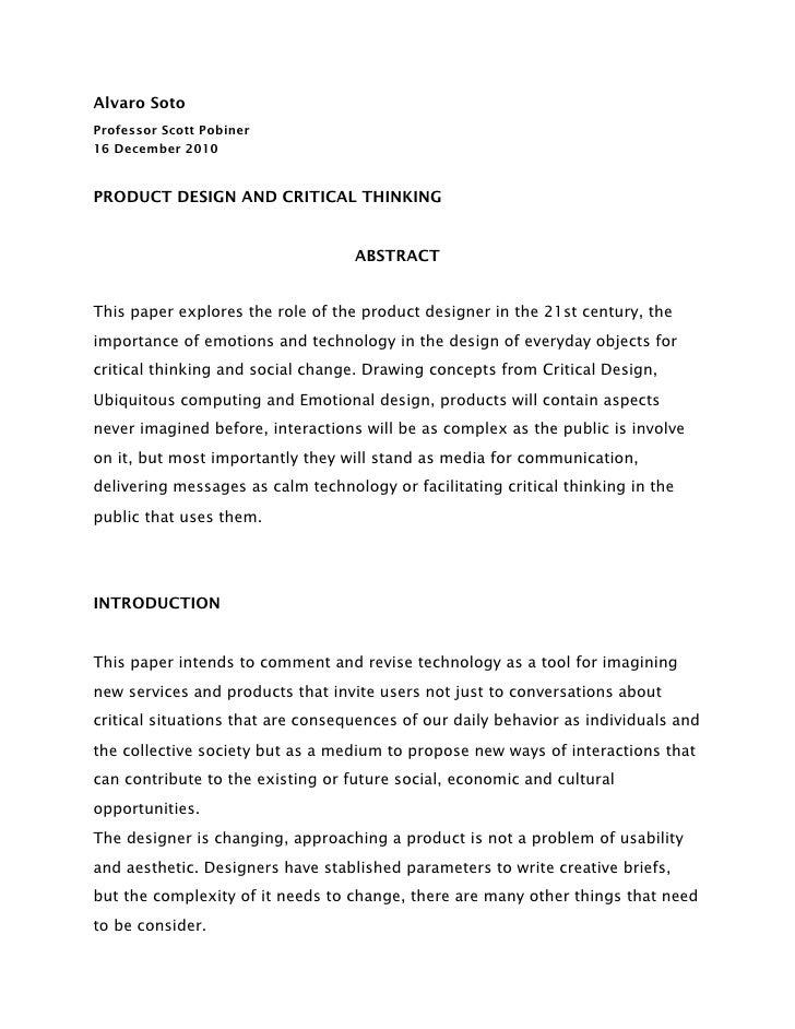 Alvaro SotoProfessor Scott Pobiner16 December 2010PRODUCT DESIGN AND CRITICAL THINKING                                   A...