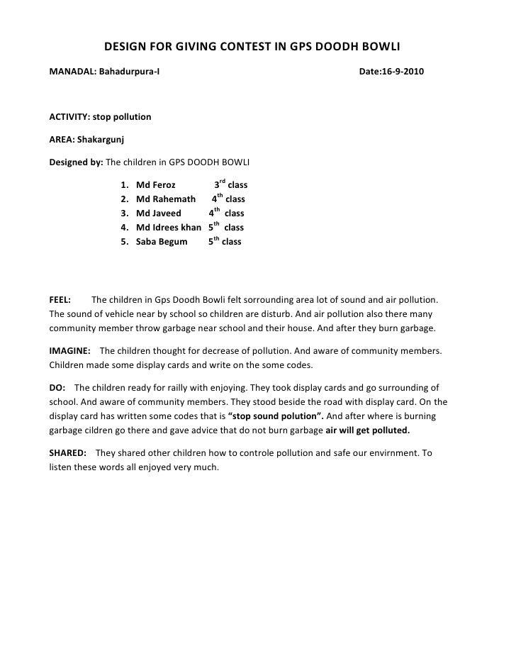 DESIGN FOR GIVING CONTEST IN GPS DOODH BOWLI<br />MANADAL: Bahadurpura-I                Date:16-9-2010<br />ACTIVITY: stop...