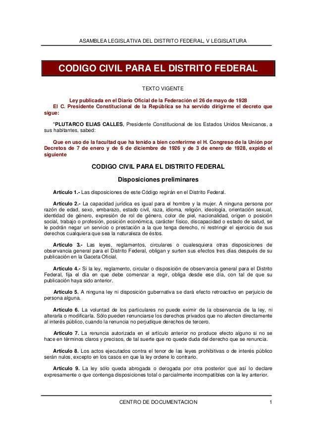 ASAMBLEA LEGISLATIVA DEL DISTRITO FEDERAL, V LEGISLATURA      CODIGO CIVIL PARA EL DISTRITO FEDERAL                       ...