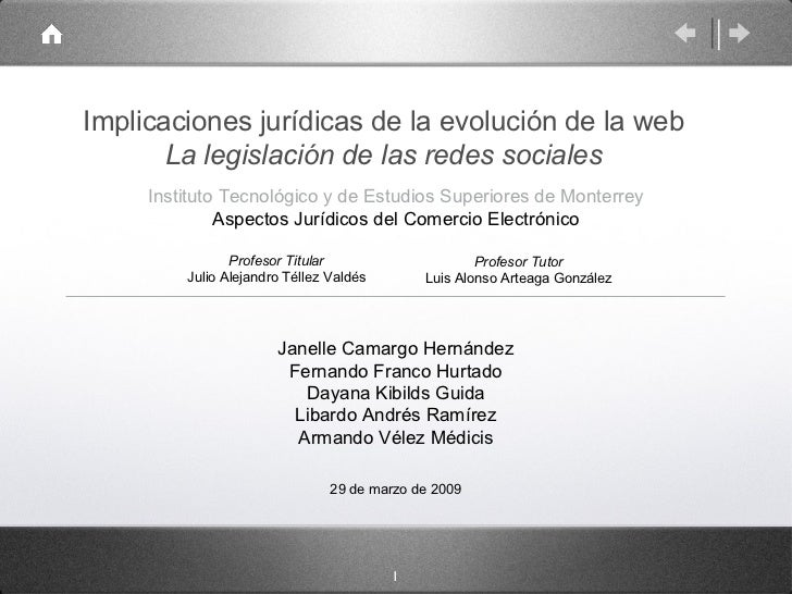 Implicaciones jurídicas de la evolución de la web La legislación de las redes sociales <ul><li>Instituto Tecnológico y de ...