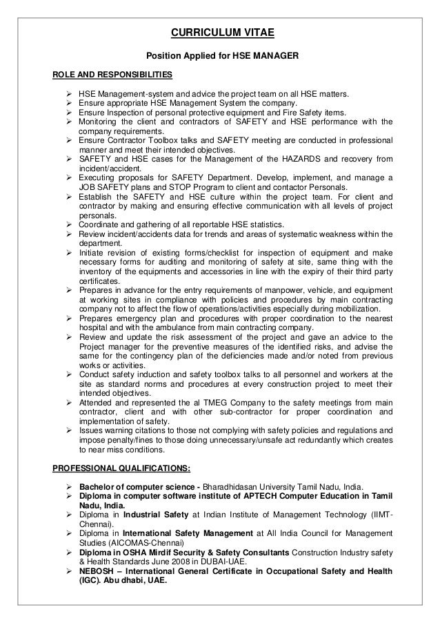 safety manager resume haadyaooverbayresort 28 images