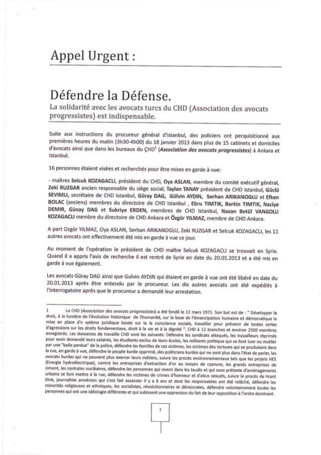 Turquie : appel pour la défense des avocats membres du CHD