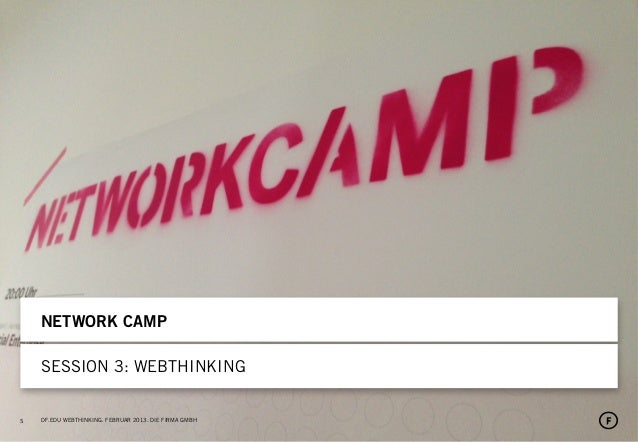 SSNETWORK CAMPSESSION 3: WEBTHINKINGDF.EDU WEBTHINKING. FEBRUAR 2013. DIE FIRMA GMBH