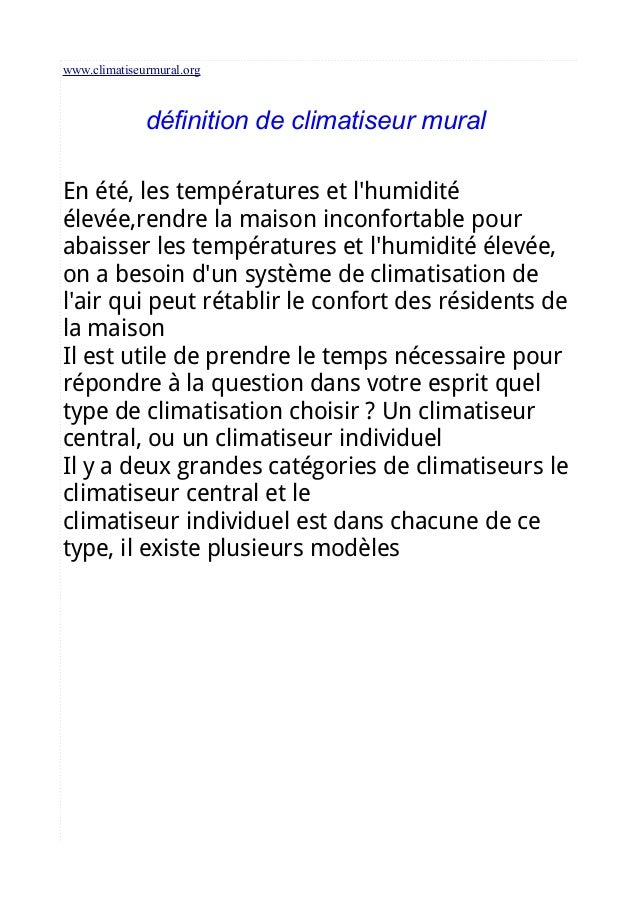 www.climatiseurmural.org définition de climatiseur mural En été, les températures et l'humidité élevée,rendre la maison in...