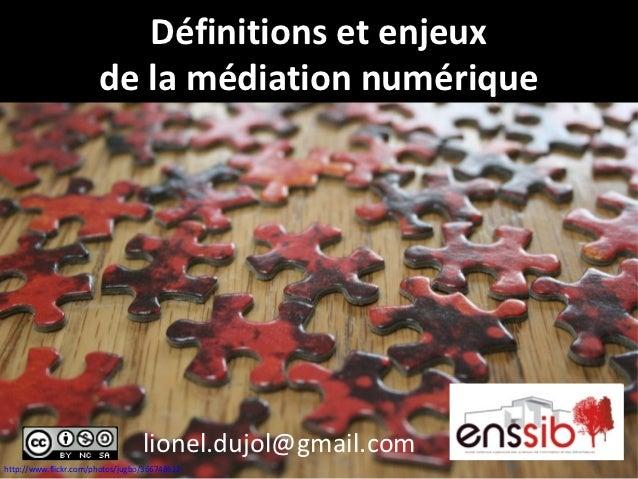 Définitions et enjeux                       de la médiation numérique                                  lionel.dujol@gmail....