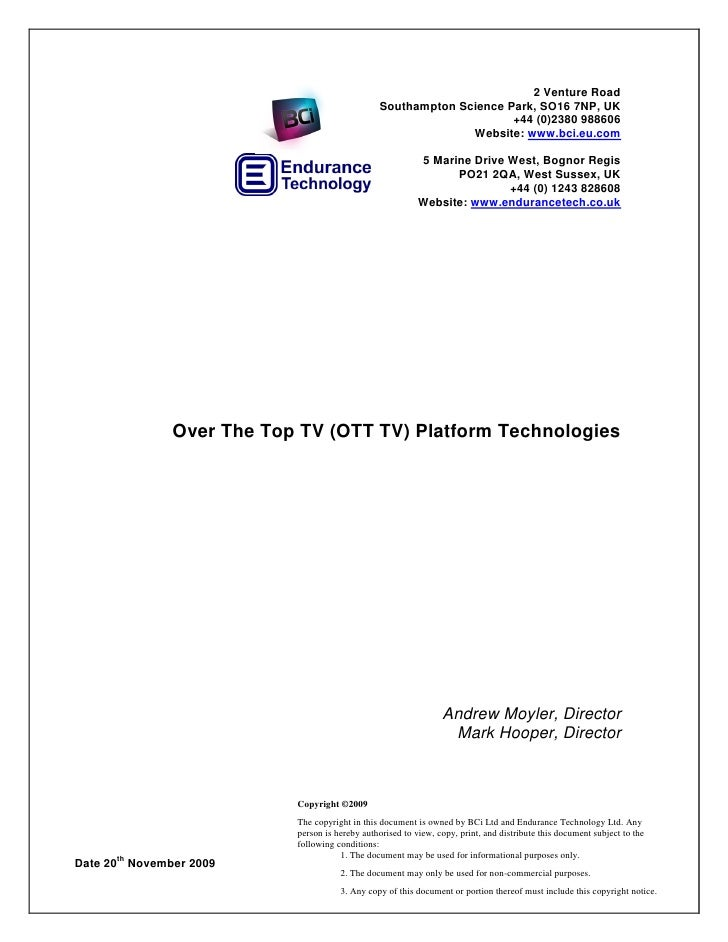 Over The Top Tv Platform Technologies - Overview