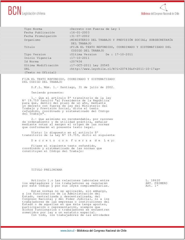 Tipo Norma                   :Decreto con Fuerza de Ley 1 Fecha Publicación            :16-01-2003 Fecha Promulgación     ...