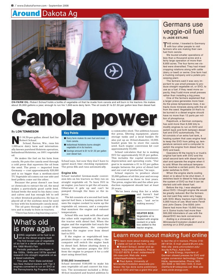 Canola Power: Running your Car on Straight Vegetable Oil