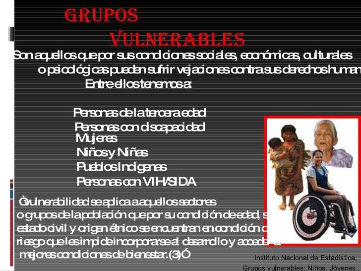 FORMACION HUMANA Y SOCIAL GRUPOS VULNERABLES