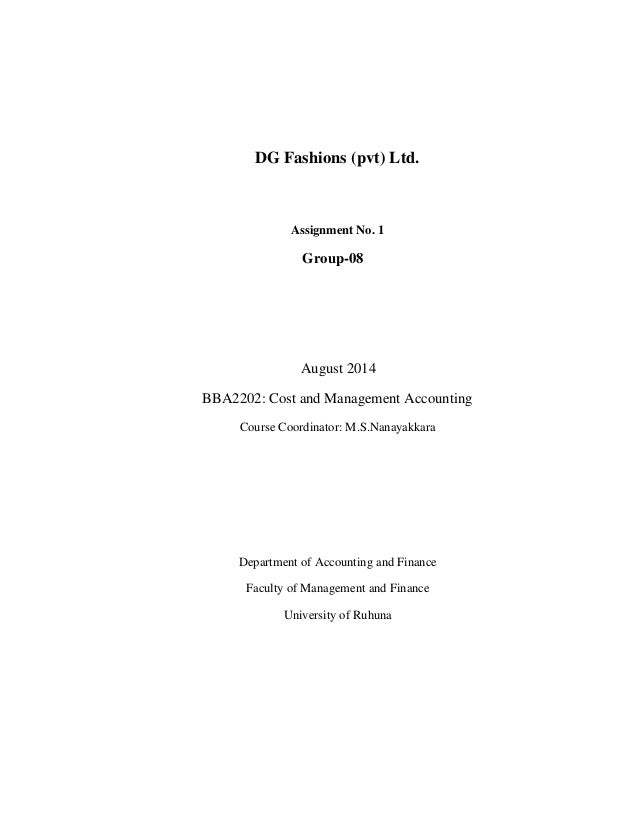 cost and management accounting (mgt402) assignment no. 01