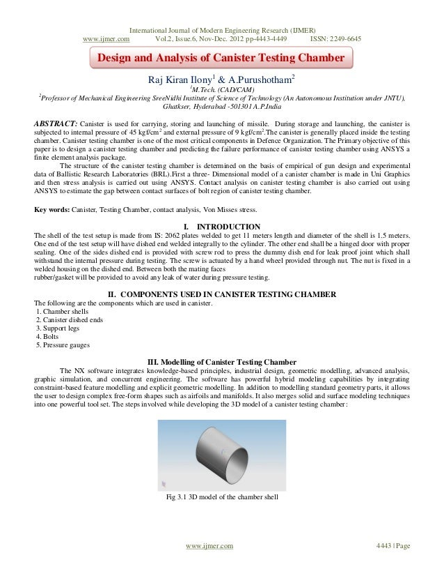 Design and Analysis of Canister Testing Chamber