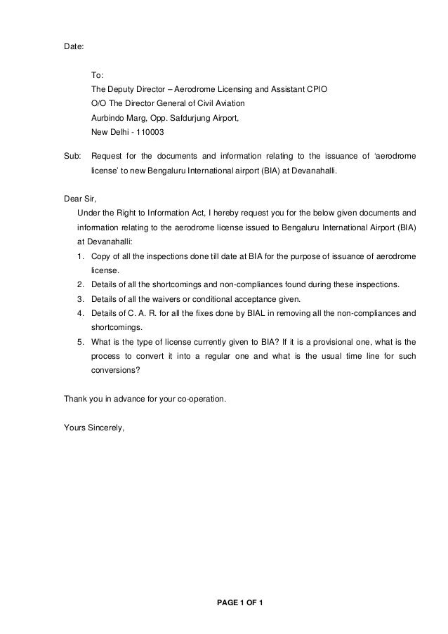 PAGE 1 OF 1 Date: To: The Deputy Director – Aerodrome Licensing and Assistant CPIO O/O The Director General of Civil Aviat...