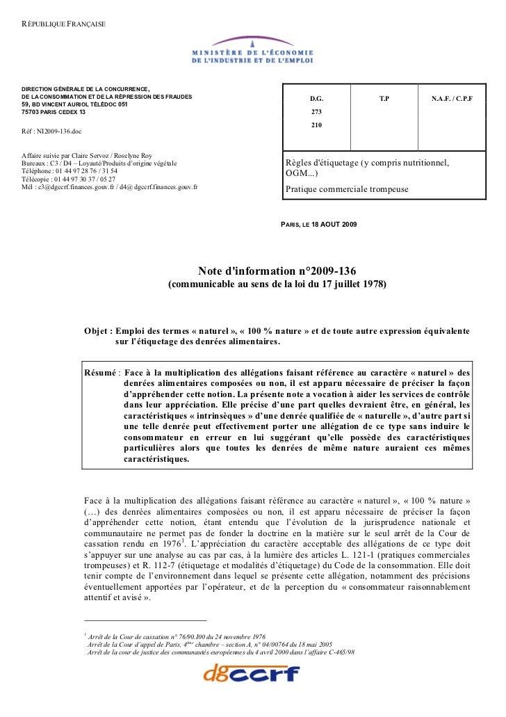 RÉPUBLIQUE FRANÇAISEDIRECTION GÉNÉRALE DE LA CONCURRENCE,DE LA CONSOMMATION ET DE LA RÉPRESSION DES FRAUDES               ...