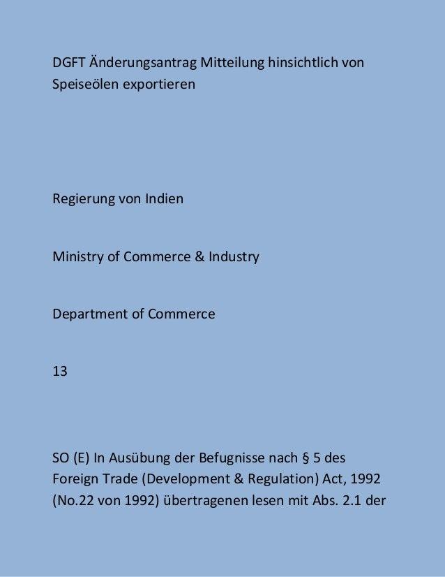DGFT Änderungsantrag Mitteilung hinsichtlich vonSpeiseölen exportierenRegierung von IndienMinistry of Commerce & IndustryD...