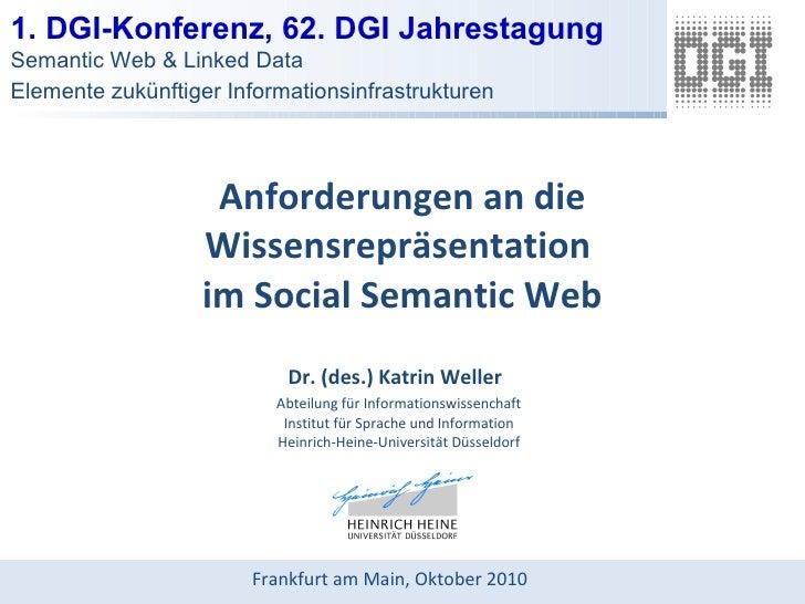 Anforderungen an die Wissensrepräsentation  im Social Semantic Web Dr. (des.) Katrin Weller   Abteilung für Informationswi...