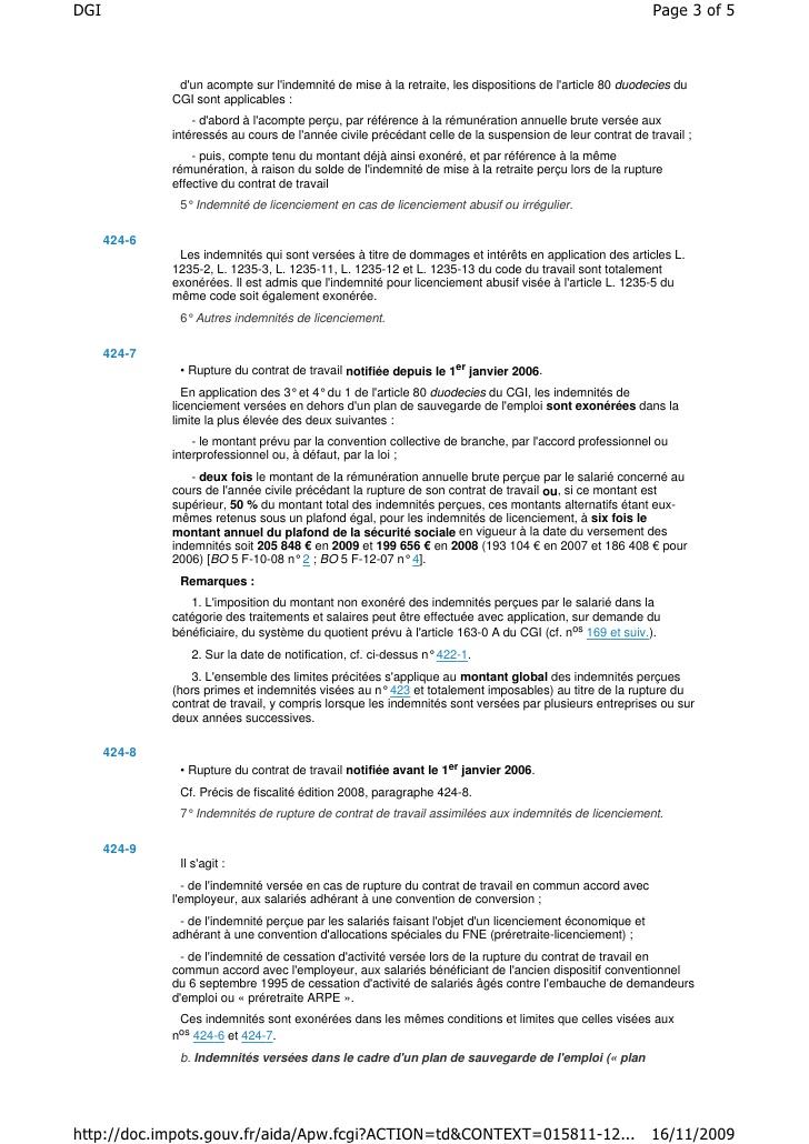 Dgi Text De Loi Indemnites