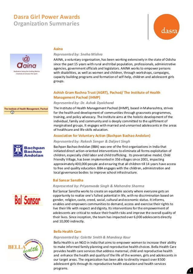 Dasra Girl Power Award Organization Summaries