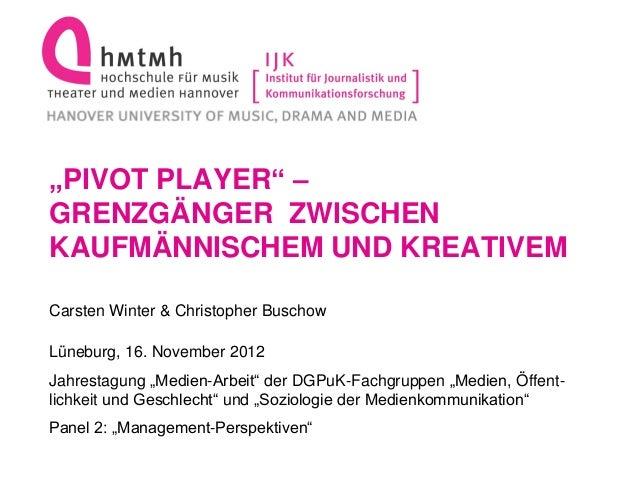 """""""PIVOT PLAYER"""" –GRENZGÄNGER ZWISCHENKAUFMÄNNISCHEM UND KREATIVEMCarsten Winter & Christopher BuschowLüneburg, 16. November..."""